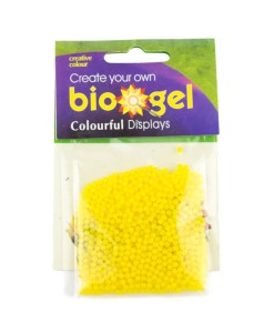 Yellow biogel water beads in packaging