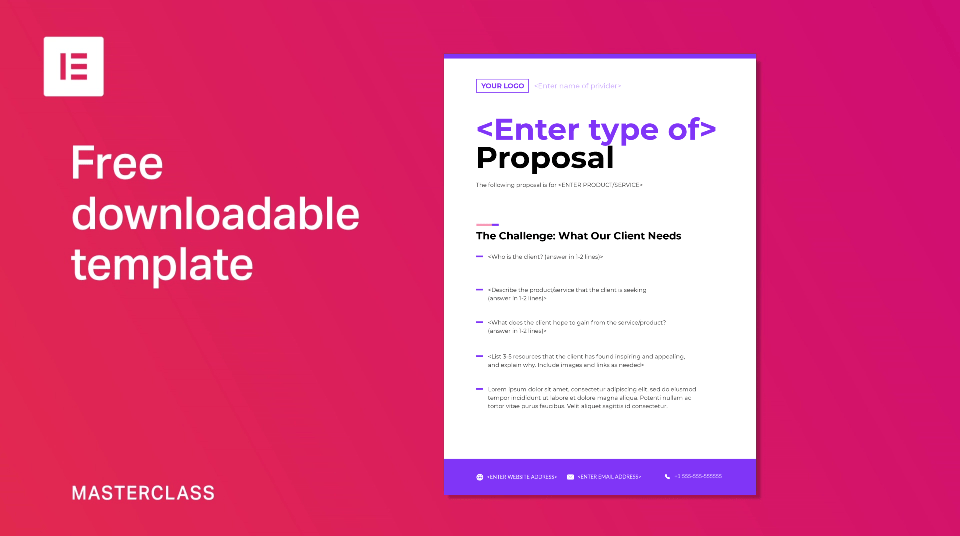 Proposal samples you can download from the site include: How To Write Great Web Design Proposals Free Template Elementor