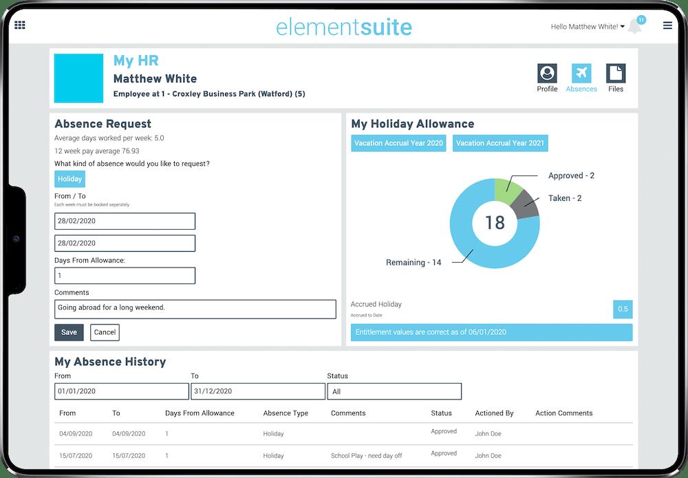 elementsuite HR page