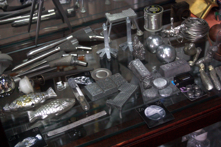 Samples of the elements on display in Theo Gray's office