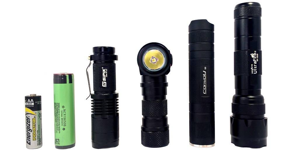 AA elem, 18650 akkumulátor, Sipik SK68, Nitenumen H01, Convoy S3, UltraFire WF-502B