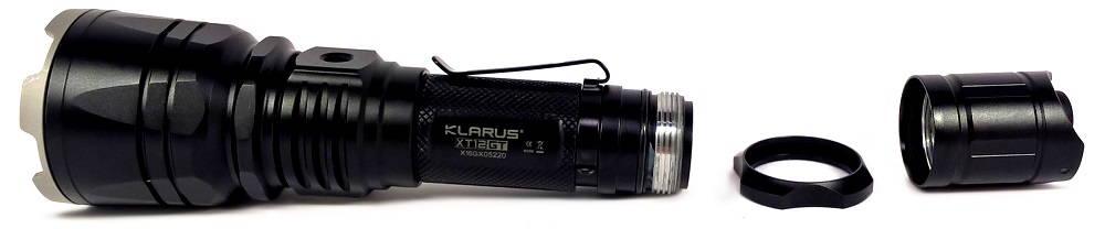 Klarus XT12GT szétszedve