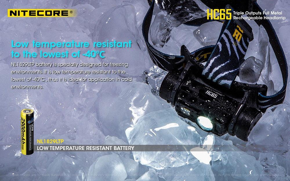 Nitecore HC65 low temperature banner