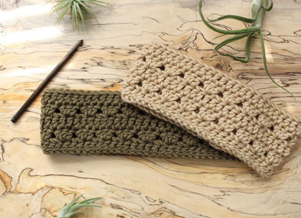 Crocus crochet headband tan green