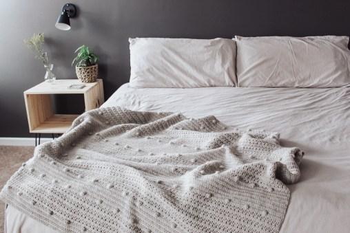 The Pebble crochet blanket styled