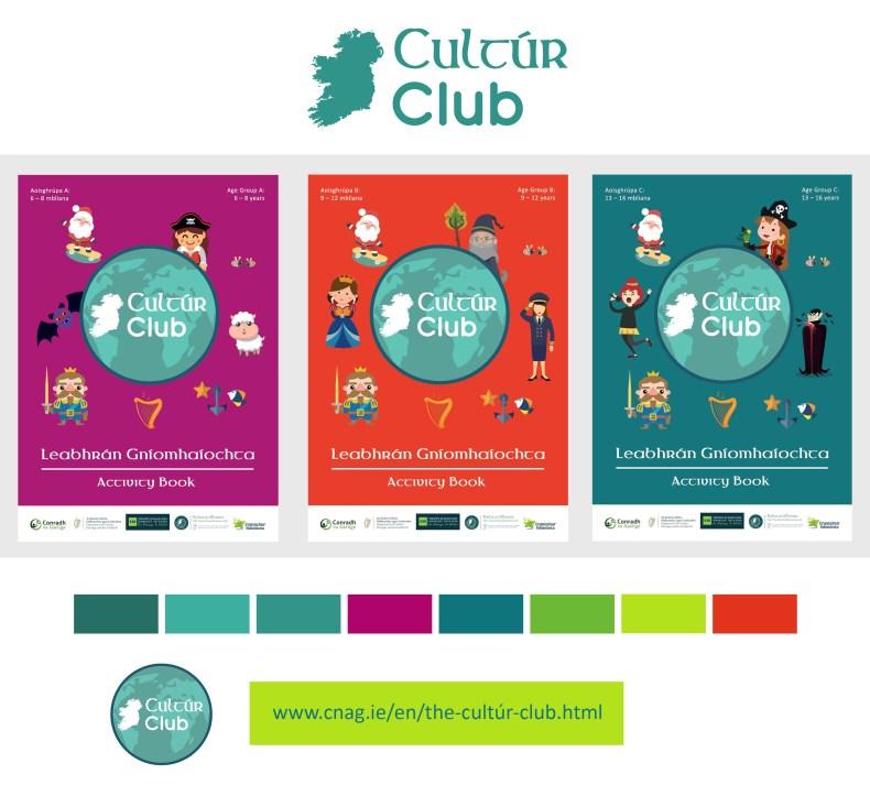 Cultúr Club, Conradh na Gaeilge, graphic design, activity book