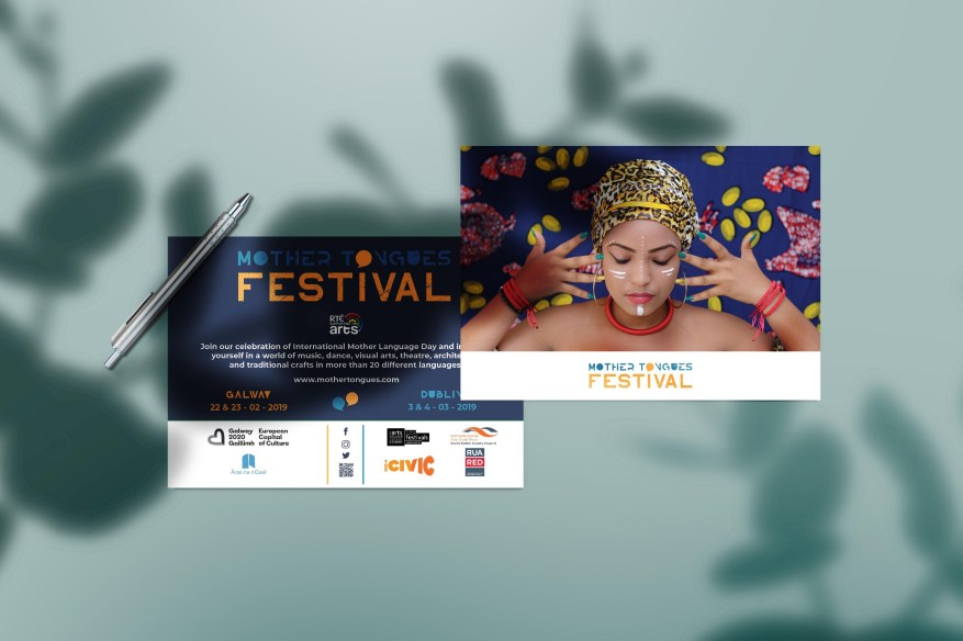flyer and logo design for the Mother Tongues Festival 2019