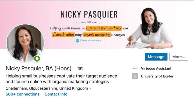 Nicky Pasquier's LinkedIn profile.