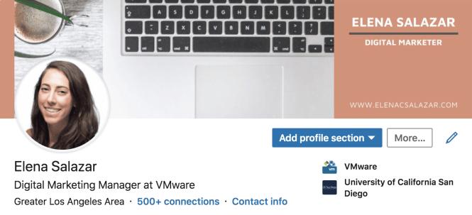 Elena Salazar's LinkedIn profile.