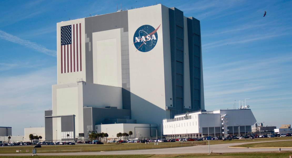 The NASA Vehicle Assembly Building (VAB) at the Kennedy Space Station.
