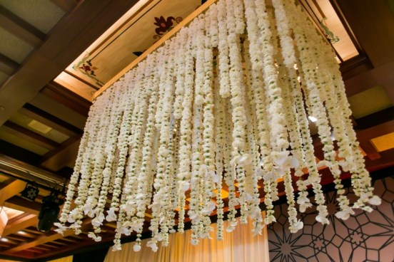 Wedding venue decoration with Flower Chandeliers