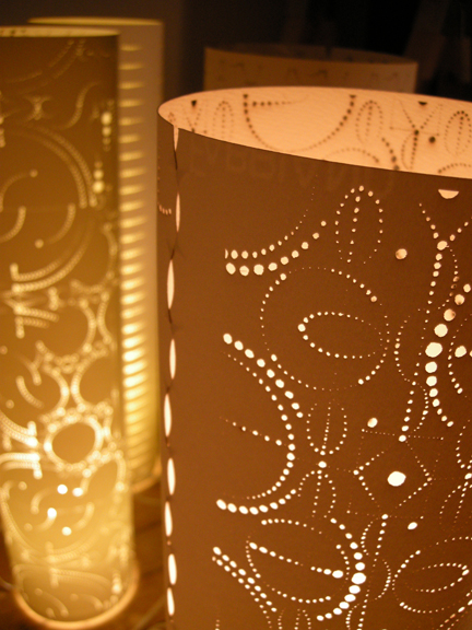 Custom made lasercut paper lamps by Levent & Romme
