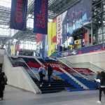 Staircase at the Javits from concourse to second level concourse.