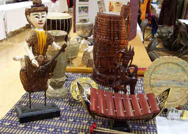 Display items on Cambodia's table.