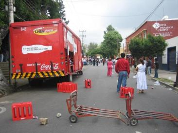 Coca-Cola Truck Ransacked for Supplies