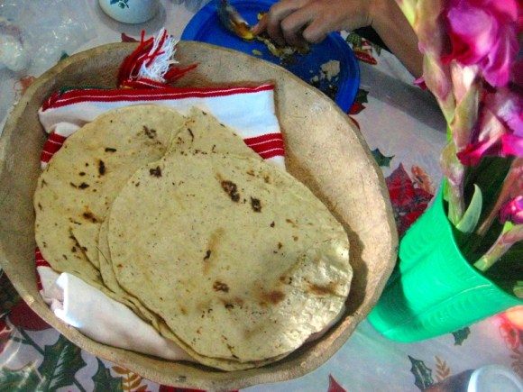 Handmade tortillas are larger and thicker than machine made counterparts.