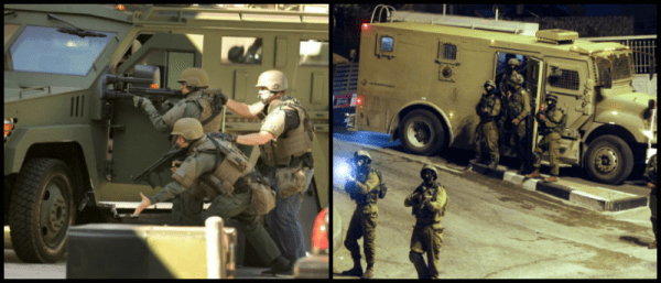 LEFT: A SWAT team member deploys a flash-bang device outside the garage of an apartment where an armed suspect was believed to be barricaded in Port Hueneme. (Rob Varela—Ventura County Star) RIGHT: Israeli military patrols the streets in the West Bank city of Hebron on July 6, 2014 (Abed Al Hashlamoun—EPA)