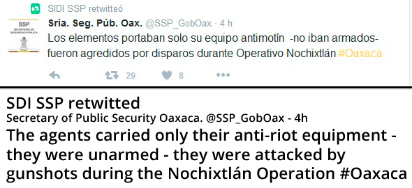 Oaxaca Secretary Public Security tweet