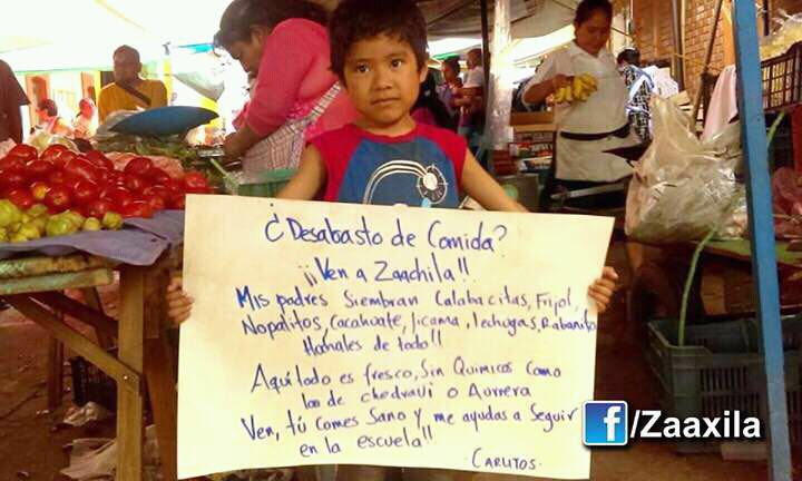 """""""Food shortage? Come to Zaachila! My parents grow squash, beans, nopal, peanuts, jicama, lettuce, radishes. Here everything is fresh, without chemicals, not like in Chedraui or Aurrera. Come, you eat healthy and help me stay in school! - Carlitos"""""""