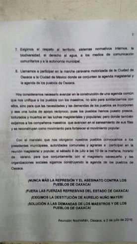 Statement from the second gathering of municipal and agrarian authorities of Oaxaca. // Pronunciamiento del 2ndo encuentro de autoridades municipales y agrarias de Oaxaca.