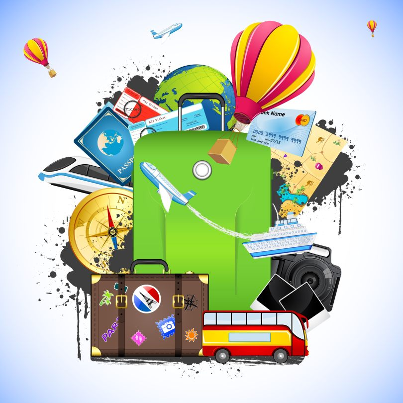 illustration of travelling element like bus,train,hot air balloon and ticket around baggage
