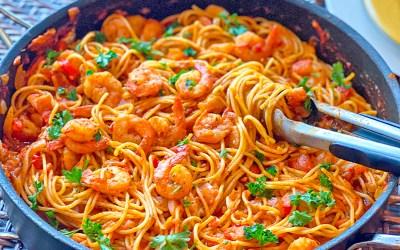 Shrimp Saganaki Pasta