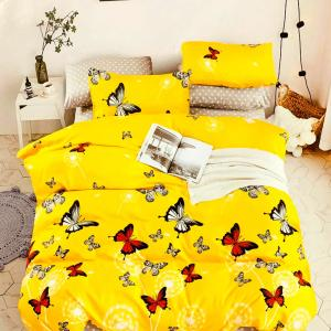 Lenjerie de pat Pucioasa din bumbac finet, 6 piese, fluturi, galben