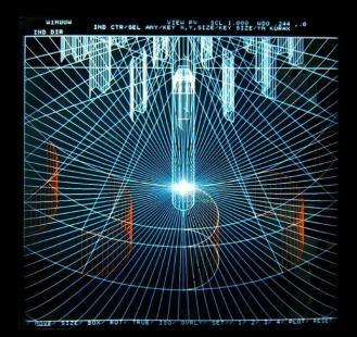 Parabólica (Serie Saludo al siglo XXI). 1989. Duratrams en caja de luz. 100,5 cm x 100,5 cm x 17,5 cm