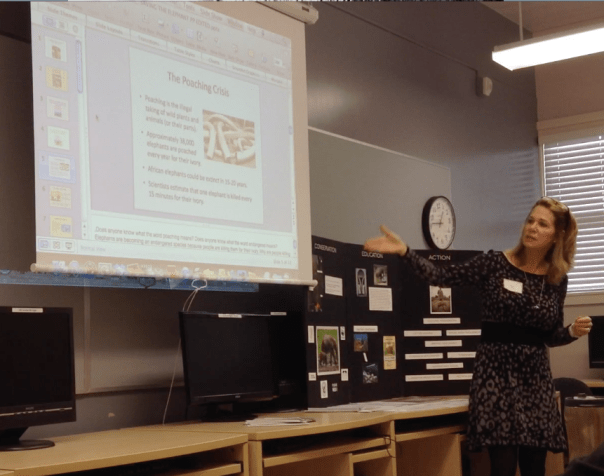 Fran presenting a lesson plan to elementary and high school teachers