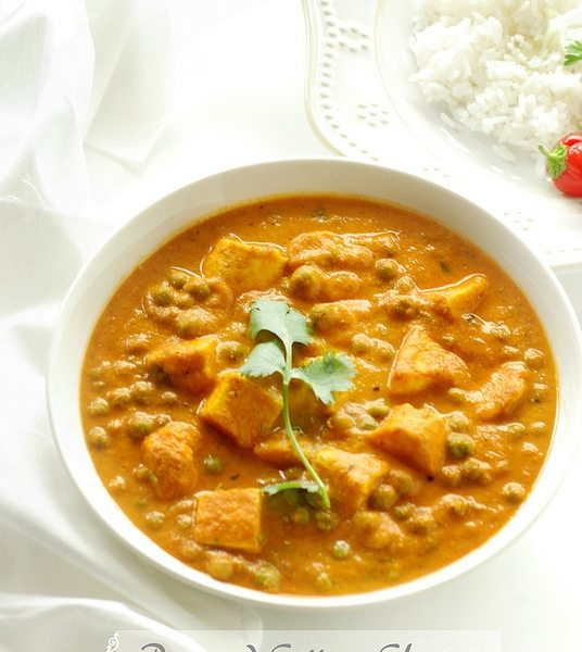 Peas and Cottage Cheese Curry, Mattar paneer