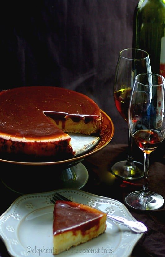 Cheese cake with caramel topping, baked goods