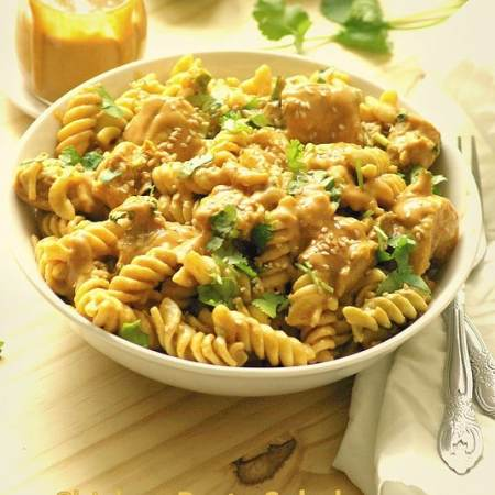 Chicken pasta salad with peanut butter dressing