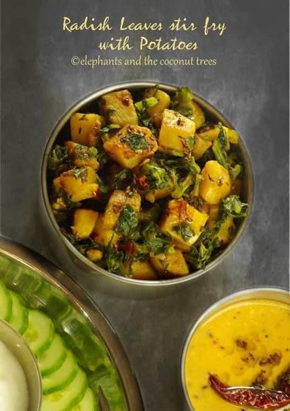 Thumbnail for Radish leaves Stir fry with Potatoes   Mooli ke patte ki sabzi