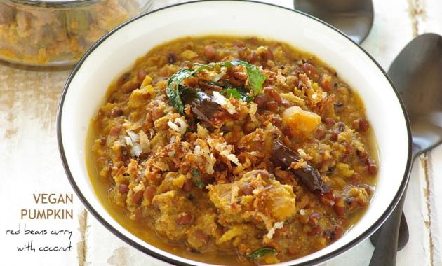 Vegan Pumpkin and red beans curry with coconut curry for rice