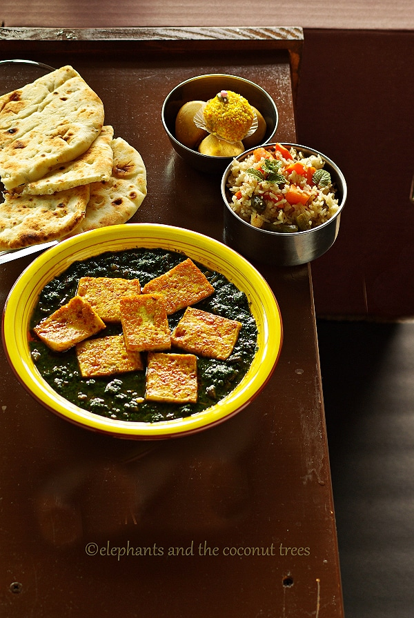 Spinach tofu curry Indian style tofu palak