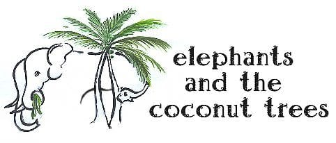 elephants and the coconut trees