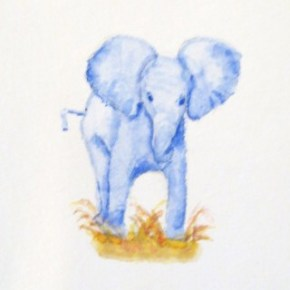 Blue Baby Elephant by Addison : ACEO Original Watercolor Elephant Painting