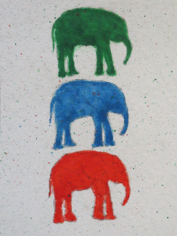 elephant art addison 3 elephants stacked splattering (1)