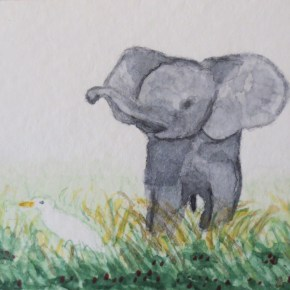 Blue Grey Baby Elephant With Egret Bird, by Addison : ACEO Original Watercolor Elephant Painting