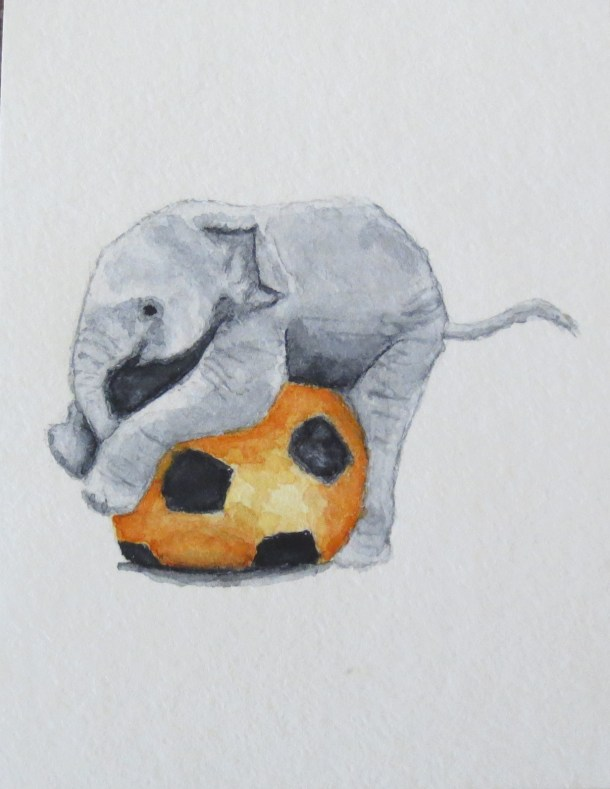 Elephant Art Addison baby elephant with orange soccer ball (3)