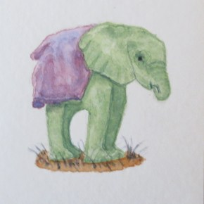 Green Orphaned Baby Elephant, Her Trunk in Mouth, Wearing Blanket, by Addison : ACEO Original Watercolor Elephant Painting