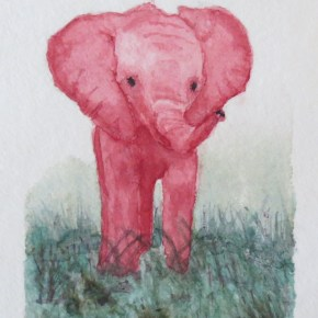 Red Baby Elephant Looking Playful, Standing in Grass by Addison : ACEO Original Watercolor Elephant Painting