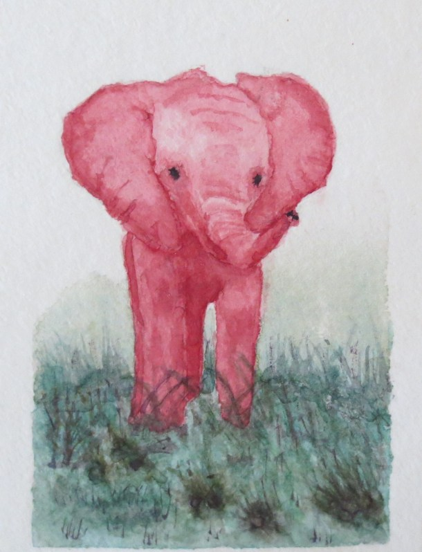 elephant art addison red baby elephant looking forward thick grasses (2)