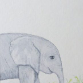 Sleepy Elephant, in Profile by Addison : ACEO Original Watercolor Elephant Painting