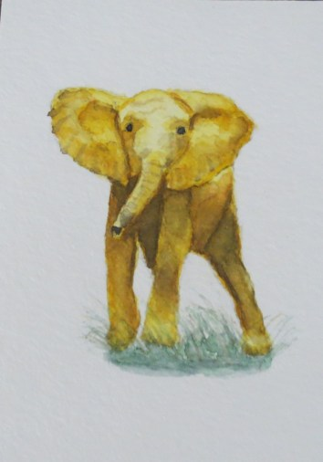 elephant art addison yellow gold elephant who are you looking forward (2)