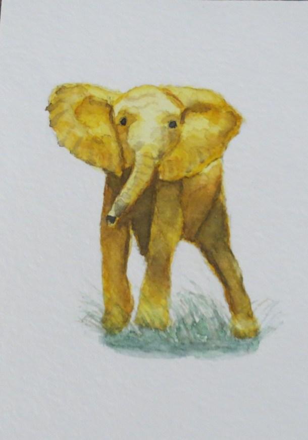 elephant art addison yellow gold elephant who are you looking forward (2)