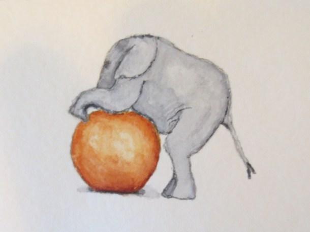 elephant art baby elephant with orange ball 016