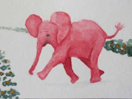 elephant art red baby elephant walking by addison