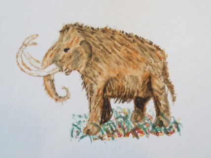 Elephant art Wolly Mammoth Elephant by Addison watercolor