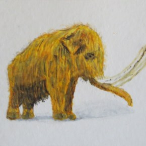 Yellow Golden Brown Woolly Mammoth, by Addison : ACEO Original Watercolor Elephant Painting